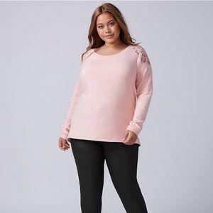 Lane Bryant-Lace-Shoulder Sweatshirt-PinkSZ 22/24